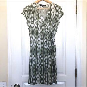 Jones New York Petite Green White Ikat Wrap Dress